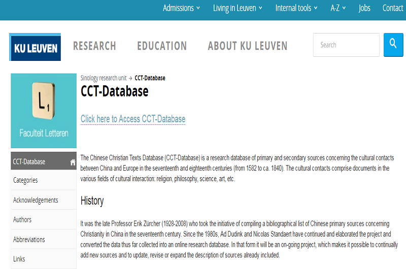 The Chinese Christian Texts Database-CCT