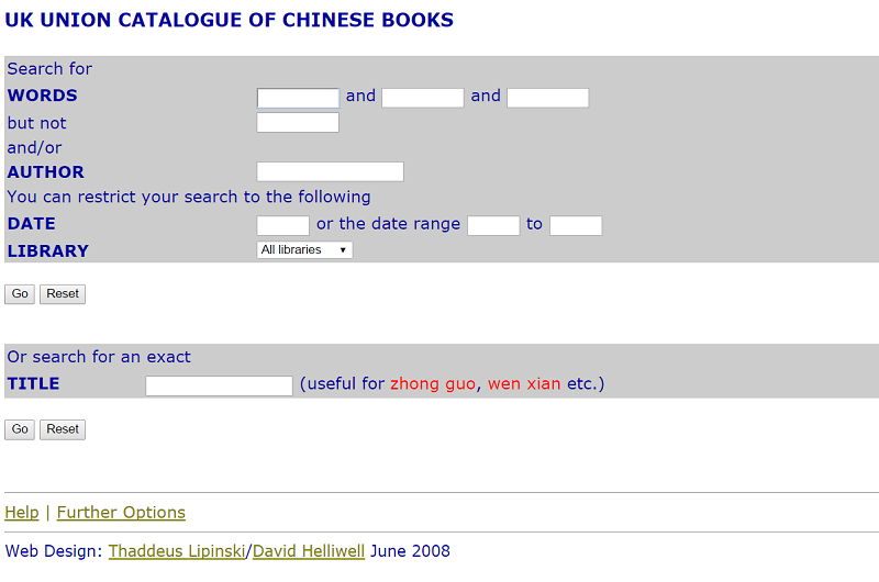 UK Union Catalogue of Chinese Books